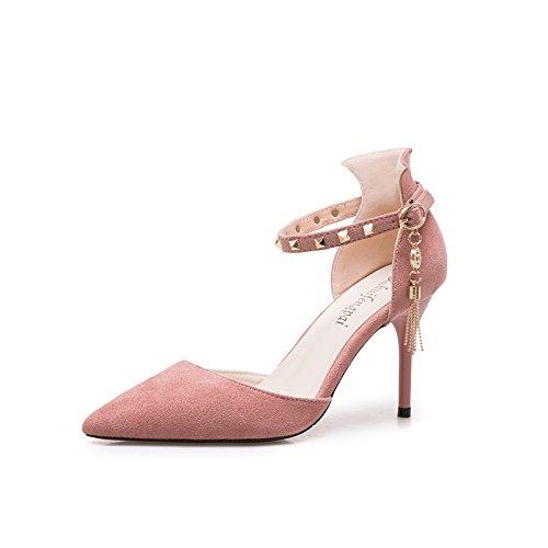 GAOLIM Sugerencia Sandalias Tacones Correa Ranurada Remaches Hueco En La Luz De La Multa Con Solo Zapatos Femeninos Rosa