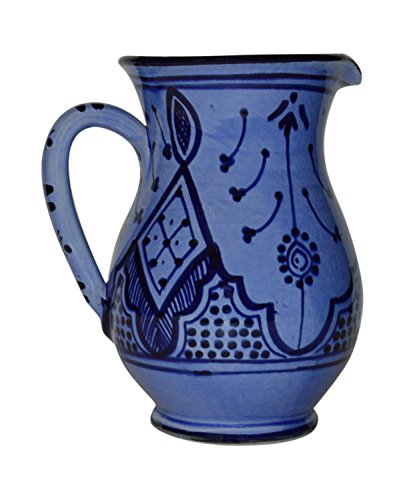 Moroccan Pitchers Sangria Handmade Ceramic Carafe Beverage Dispenser Jar Cooler Easy Pour 58 oz ()
