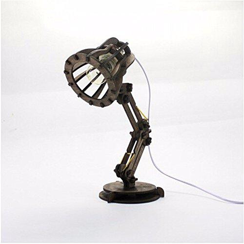 SSBY DIY wooden creative table lamp LED decorative lamp DIY bedroom bedside (Bohemia Walnut)