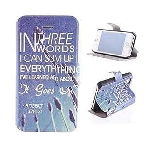 GONGXI- letras azules en Inglés caso de cuerpo completo de la PU con ranura de la tarjeta y el soporte para el iphone 4/4s