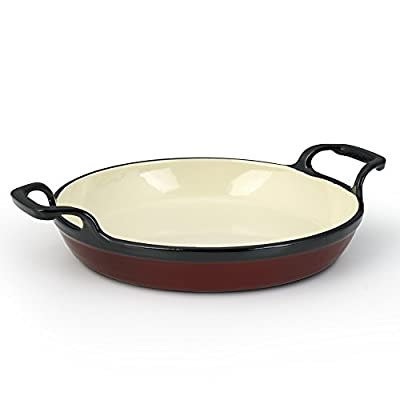 """Essenso Grenoble 3 Layer Enameled Cast Iron Egg and Omelet Pan with Ceramic Coating, 8"""", Cherry/Cream"""