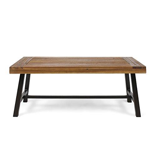 Christopher Knight Home 304571 Carlisle Outdoor Acacia Wood Coffee Table, Sandblast Finish Rustic Metal