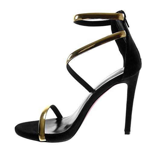 Chaussure Femme Noir Angkorly Escarpin Lanière Doré Stiletto cm Lanière Cheville Sandale Mode 11 Haut Aiguille Talon 0fwwAd