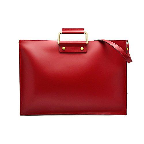 GERRY Borsa cartella portadocumenti porta compiuter tracolla e manici pelle liscia Rosso