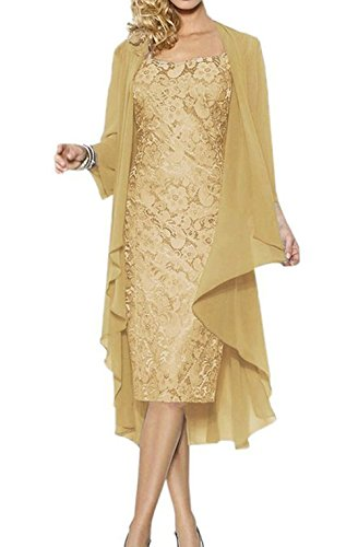 Ruiyuhong Mother of the Bride Dress with Jacket Formal Gowns US14 Gold