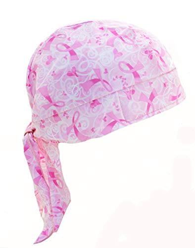 Swirls & Hearts Pink Ribbon Breast Cancer Awareness Skull Cap - Swirl Ribbon Pink