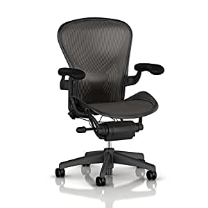 Aeron Task Chair by Herman Miller: Highly Adjustable w/PostureFit Lumbar Support - Fully Adj Vinyl Arms - Tilt Limiter - Size C - Standard Carpet Casters - Graphite Frame/Carbon Classic Pellicle - Size C (Large)