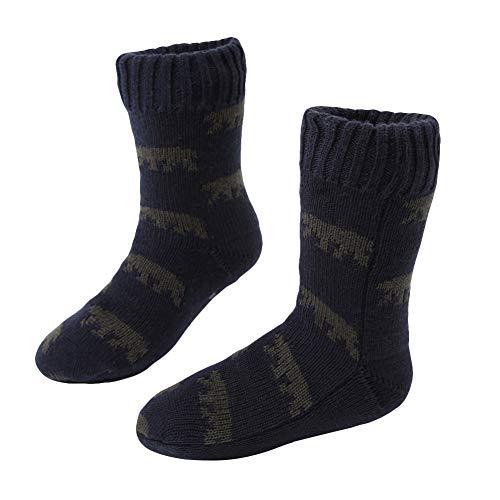 MaaMgic Mens Fuzzy Warm Slipper Socks Non Slip Skid Winter Cozy Knit Fleece Lining Indoor Socks with Grips for Men Teen (Men Socks Sherpa)