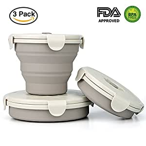 HOMAR Collapsible Stackable Food Storage Containers With Lids- Foldable Bowl Lunch Bento Box Food Prep Containers Kitchen, BPA Free, Microwave, Dishwasher and Freezer Safe