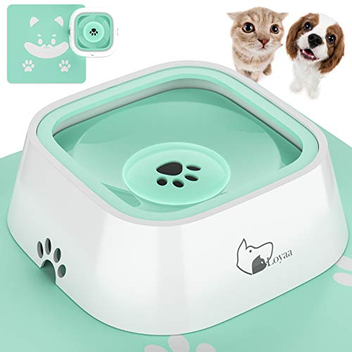 Loyaa Dog Water Bowl, Dog Bowl No-Spill Pet Water Bowl with Pet Bowl Mat Slow Water Feeder Dog Bowl No-Slip Pet Water Dispenser 35oz Feeder Bowl for Dogs/Cats/Pets(Mint Green)