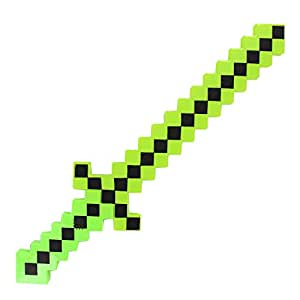 Light-Up Diamond Pixel Sword LED Motion Activated & Flashing Lights - Green