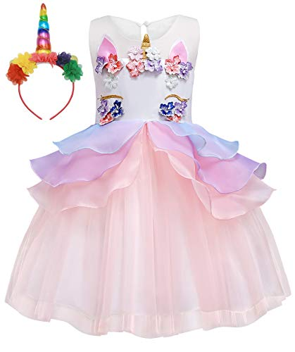 Cotrio Unicorn Dress Girls Birthday Party Costume with