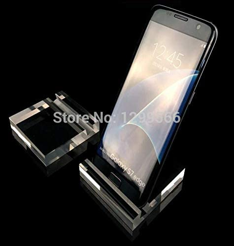 ZAMTAC 50PCS Crystal Acrylic Mobile Cell Phone Display Stand Big Screen Phone Display Stand Holder Rack Color: Clear