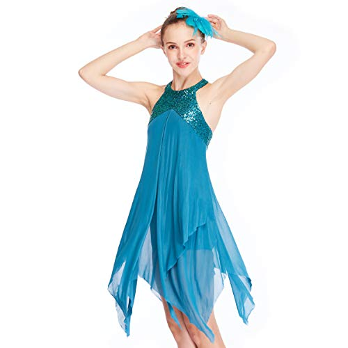 MiDee Lyrical Costume Athletic Dance Dresses Halter Neck 2 Layers A-Line Dress for Girls (SA, Turquoise) -