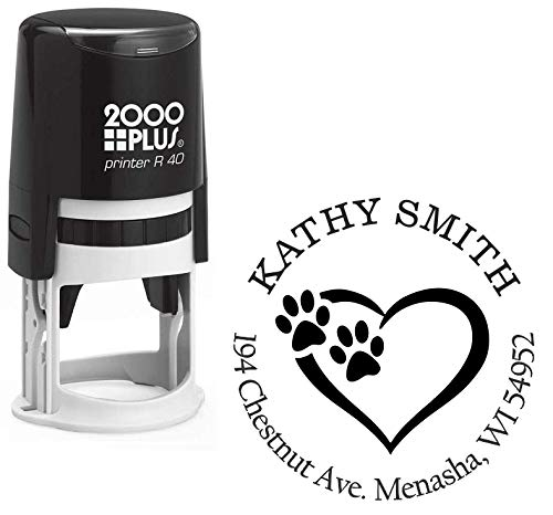 StampExpression - Tiny Paw Prints Dog Lover Custom Return Address Stamp - Self Inking. Personalized Rubber Stamp with Lines of Text ()