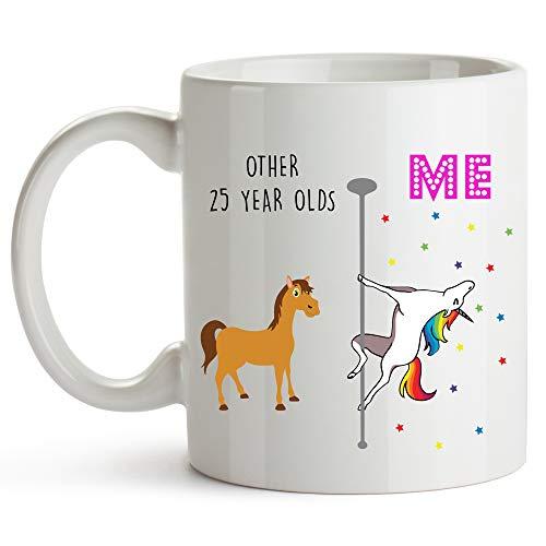 YouNique Designs 25th Birthday Coffee Mug, 11 Ounces, White, Unicorn Mug, 25th Birthday Gifts for Her