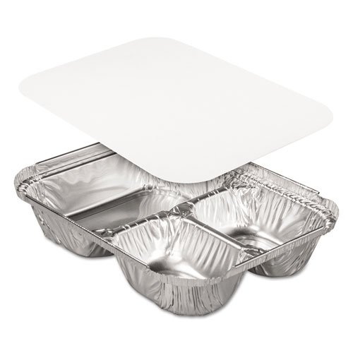Handi-Foil Aluminum Oblong Containers, 3-Compartments, 32oz, 8w x 5d x 1 13/16h - Includes 250 containers and 250 lids.