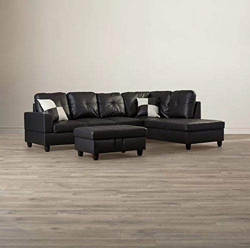 (Golden Coast Furniture 2 PC L Shape Sectional Sets Including Ottoman (With Multiple Colors) (Left Hand Facing, Black))