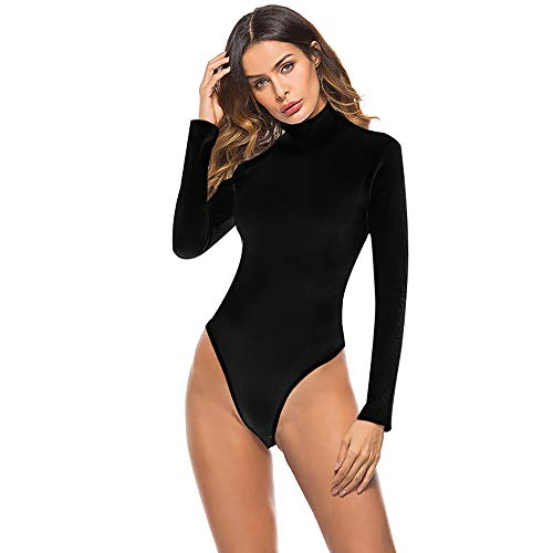 ASUNG Basic Solid Bodysuit for Women Turtleneck Leotard Top Long Sleeve Bodycon Jumpsuit Stretchy Romper (Black, -