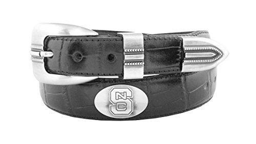 ZEP-PRO NCAA North Carolina State Wolfpack Men's Crocodile Leather Concho Tapered Tip Belt, Black, 40