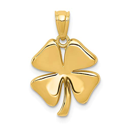 14k Yellow Gold 4 Leaf Clover Pendant Charm Necklace Celtic Claddagh Fine Jewelry Gifts For Women For Her ()