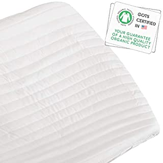 Makemake Organics Organic Changing Pad Cover GOTS Certified Organic Cotton Changing Table Cover Hypoallergenic Non Toxic Quilted Ultra Soft Unisex Change Table Cover for Girls Boys (16x32, White)