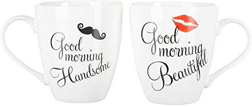 Pfaltzgraff Good Morning Beautiful and Handsome 18 Oz. Mug Set in Black and White by Pfaltzgraff Everyday