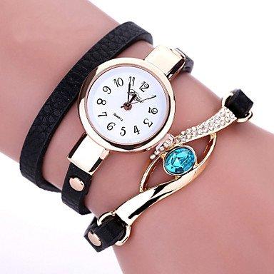 ファッションWatches DUOYAブランド新しいレディースブレスレット腕時計レザーストラップクリスタル時計ロングチェーンジュエリーMontres FemmeギフトIdea Cool Watches  ブラック For Lady B071Z68W4N