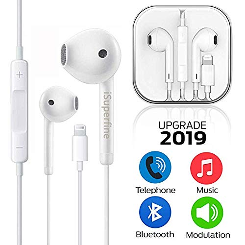 iSuperfine Earbuds, Microphone Earphones Stereo Headphones Noise Isolating Headset Compatible with iPhone X/XS/XS Max/XR/8/8 Plus/7/7 Plus Earphones (White) A
