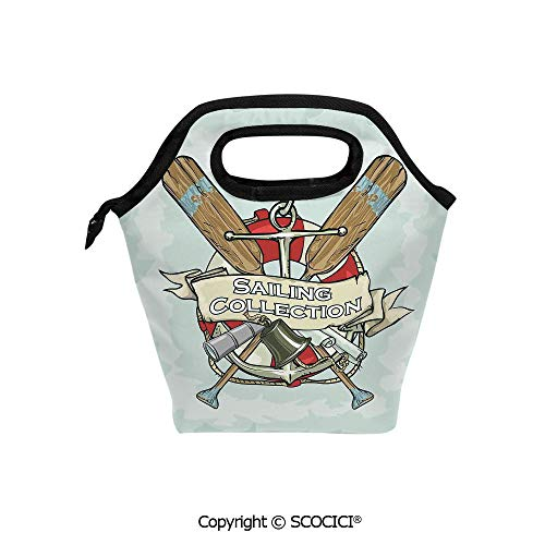 Lightweight Portable Picnic tote lunch Bags Sailing Collection Yacht Club Bell Antiques Historical Items Long Glass Life Saver lunch bag for Employee student Worker.