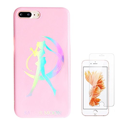 Liquid case for iPhone 6/6 plus/iPhone 7/7 plus/iPhone 8/8 Plus/iPhone x/10 Luxury Bling Glitter Sparkle Stars Transparent Plastic Case (Sailor Moon, iPhone 6/6s (4.7 inch)) (Sailor Moon Material)