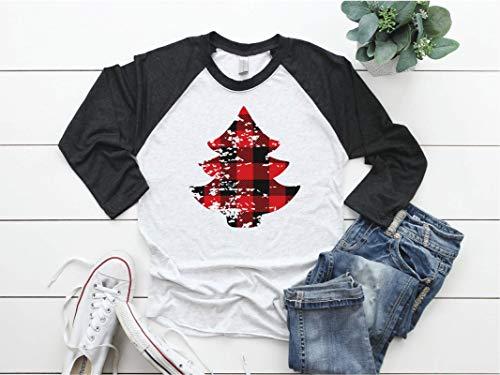 Womens Christmas Distressed Buffalo Plaid Tree Baseball Raglan Tshirt