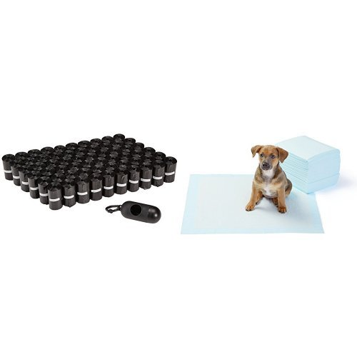AmazonBasics Dog Waste Bags and Training Pads (50-Pack)