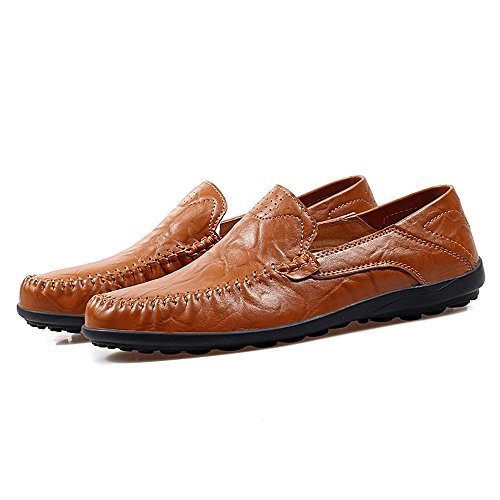 47 Brown Flat Color Xiazhi Slouch shoes Slip EU Red Heel casual Dimensione Leisure Fashion Scarpe Men's On Mocassini Office Vamp Loafer ZZTqH