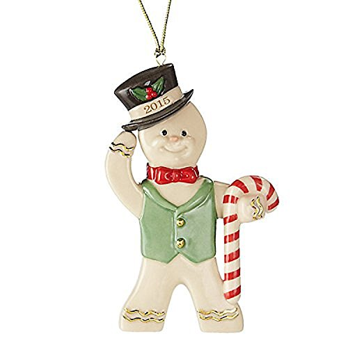 Lenox Christmas 2015 Annual Gingerbread Man Ornament Ginger Gent Candy Cane (Gingerbread Man Candy Cane)