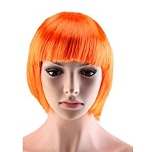 Dharcu(TM) Women Short Straight BOB Hairstyle Wig Cospaly Anime Party Dress Synthetic Full Bangs Wigs Orange