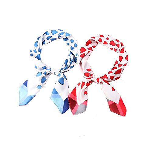 "Womens 27.5"" Square Silk Like Neck Scarves Cute Heart Print Hair Scarf"