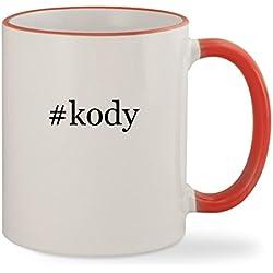 #kody - 11oz Hashtag Colored Rim & Handle Sturdy Ceramic Coffee Cup Mug, Red