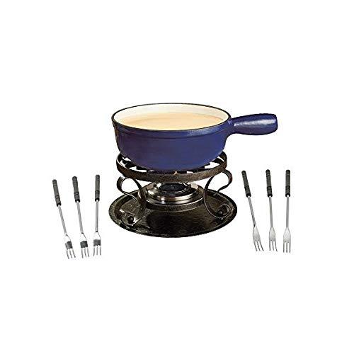 - OKSLO Kf-66518 lugano 2-quart cast iron cheese fondue set, 9-piece, deep blue