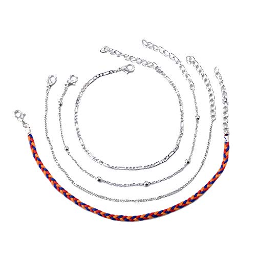 (4 Pcs of Ethnic Style Elements Retro Color Rope Woven Pattern Chain Jewelry Anklets for Women (Multicolor))