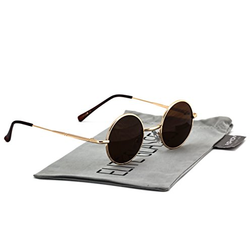 John Lennon Hipster Fashion Sunglasses Small Metal Round Circle Elton Style (Gold Brown Lens, - Small Lenses Circle