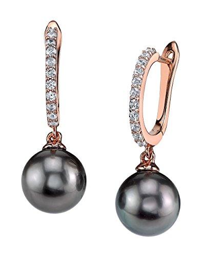 THE PEARL SOURCE 8-9mm Genuine Black Tahitian South Sea Cultured Pearl Rose Gold Zara Earrings for Women