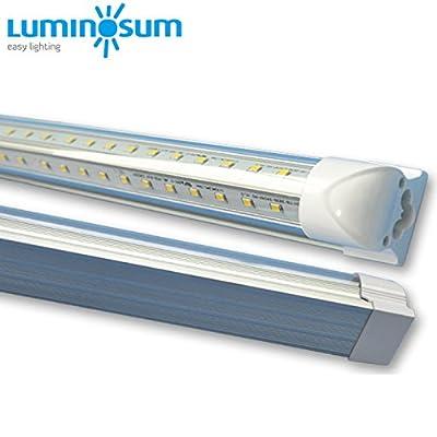 LUMINOSUM, 20-Pack, LED Tube Lights, Double-side V-shape Integrated, AC85-265V SMD2835 Clear Cover Cool White 6000K, f LED Cooler Door Lights