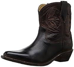 bed stu Women's Crane Western Boot, Black Rustic/Teak Rustic Rust, 7 M US