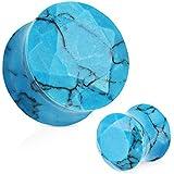 Covet Jewelry Blue Turquoise Semi Precious Stone Faceted Gem Cut Double Flared Plug (2GA (6mm))