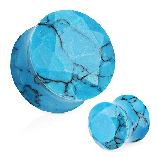 - Covet Jewelry Blue Turquoise Semi Precious Stone Faceted Gem Cut Double Flared Plug (2GA (6mm))