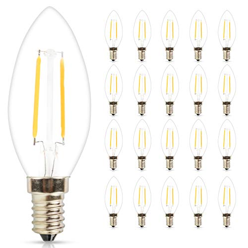 (Mengjay 20 Pack C35 110V 2W(15W Incandescent Equivalent) LED Candelabra Bulb, LED Filament Lamp, 2700K Warm White Light, Frosted Glass, E12 Small Base, Flame Tip)