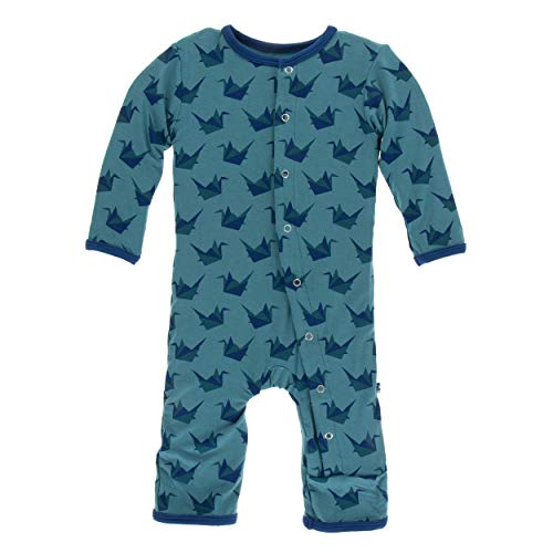 Kickee Pants Little Boys Print Coverall with Snaps - Seagrass Origami Crane, 0-3 Months