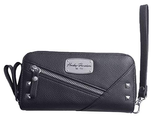 HarleyDavidson Women's Chain Gang Leather Wristlet W/Strap Black CG2390LBLK