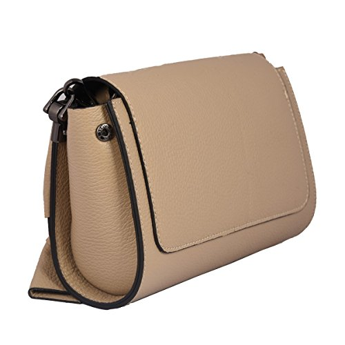Crossbody Tuscan Genuine In Bag Clutch Italy Woman Made Leather Taupe Leather Color wFCfH